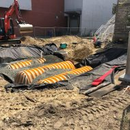 SCC Progress: Rainwater collection tanks go in